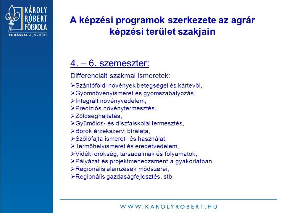 A képzési programok szerkezete az agrár képzési terület szakjain 4.