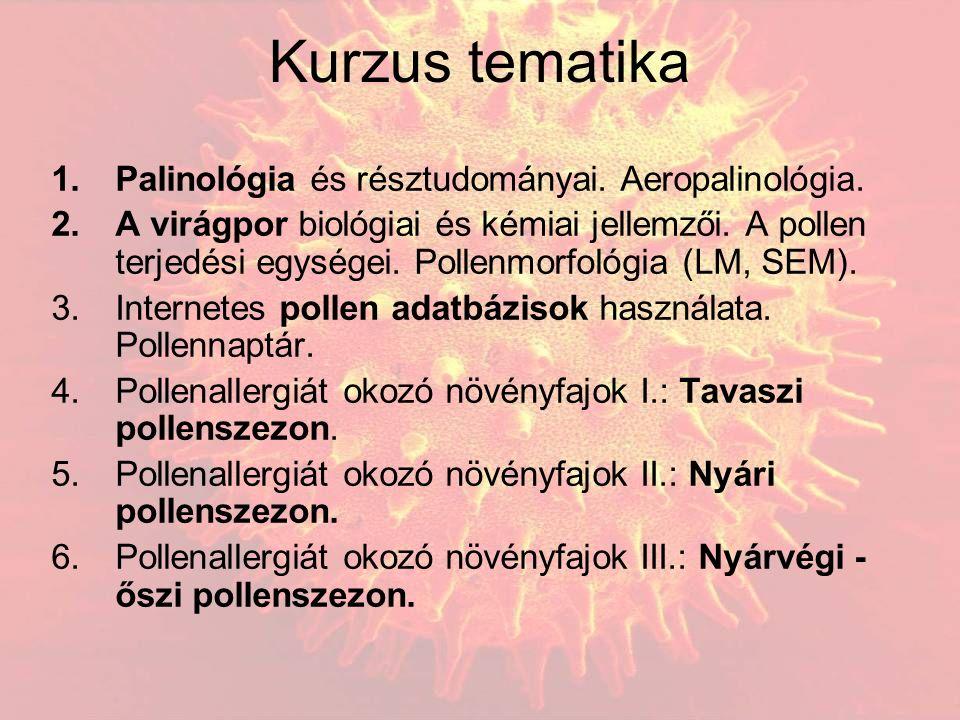 Kurzus tematika 1.Palinológia és résztudományai. Aeropalinológia. 2.A virágpor biológiai és kémiai jellemzői. A pollen terjedési egységei. Pollenmorfo
