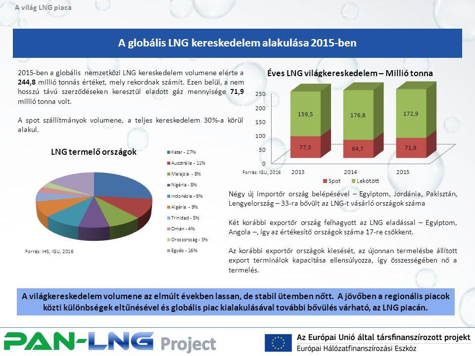 A világ LNG piaca 2015-ben a globális nemzetközi LNG kereskedelem volumene elérte a 244,8 millió tonnás értéket, mely rekordnak számít.