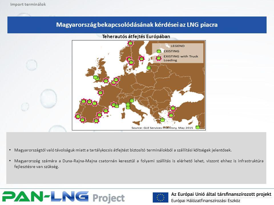 Import terminálok Magyarország bekapcsolódásának kérdései az LNG piacra Teherautós átfejtés Európában Magyarországtól való távolságuk miatt a tartálykocsis átfejtést biztosító terminálokból a szállítási költségek jelentősek.