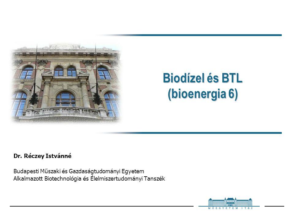 Biodízel és BTL (bioenergia 6) Dr.