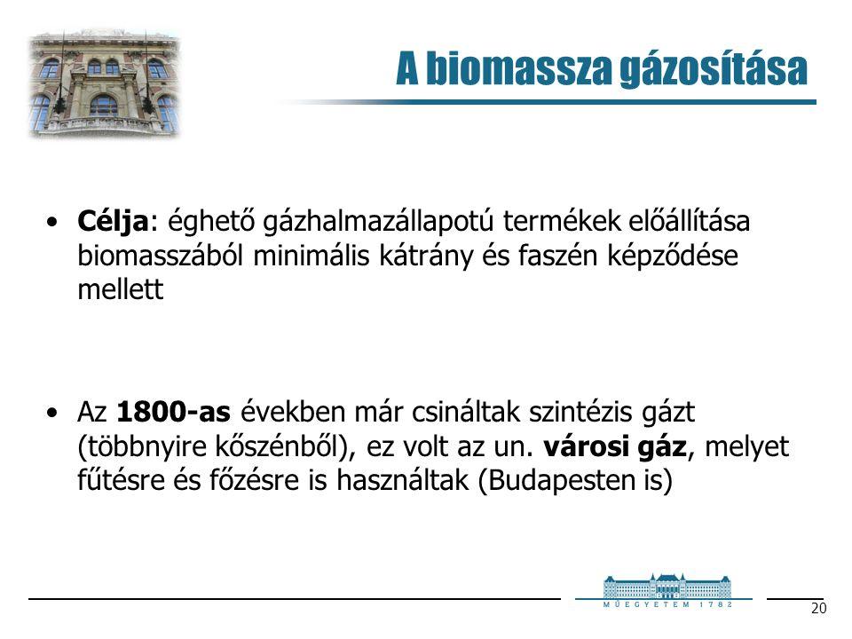 20 A biomassza gázosítása Célja: éghető gázhalmazállapotú termékek előállítása biomasszából minimális kátrány és faszén képződése mellett Az 1800-as években már csináltak szintézis gázt (többnyire kőszénből), ez volt az un.