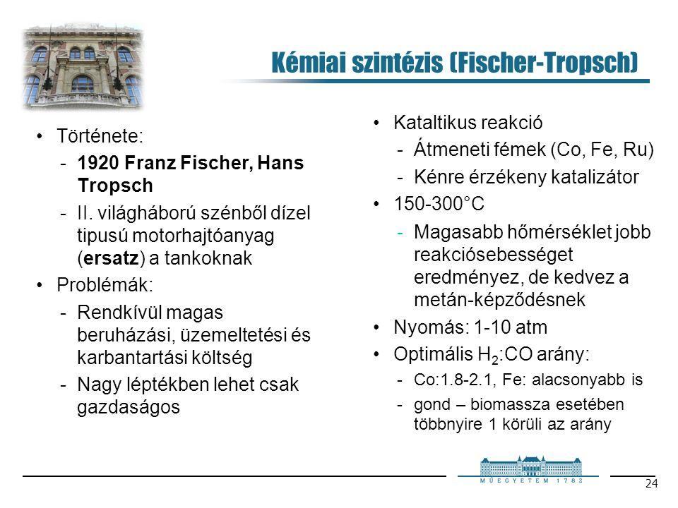 24 Kémiai szintézis (Fischer-Tropsch) Története: 1920 Franz Fischer, Hans Tropsch II.