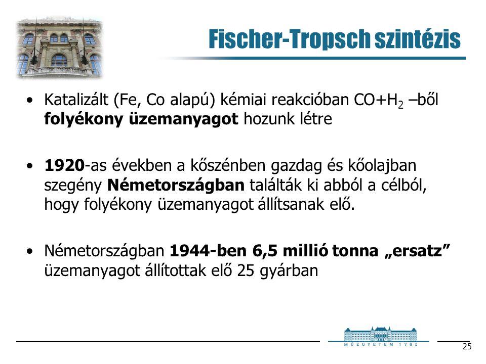25 Fischer-Tropsch szintézis Katalizált (Fe, Co alapú) kémiai reakcióban CO+H 2 –ből folyékony üzemanyagot hozunk létre 1920-as években a kőszénben gazdag és kőolajban szegény Németországban találták ki abból a célból, hogy folyékony üzemanyagot állítsanak elő.