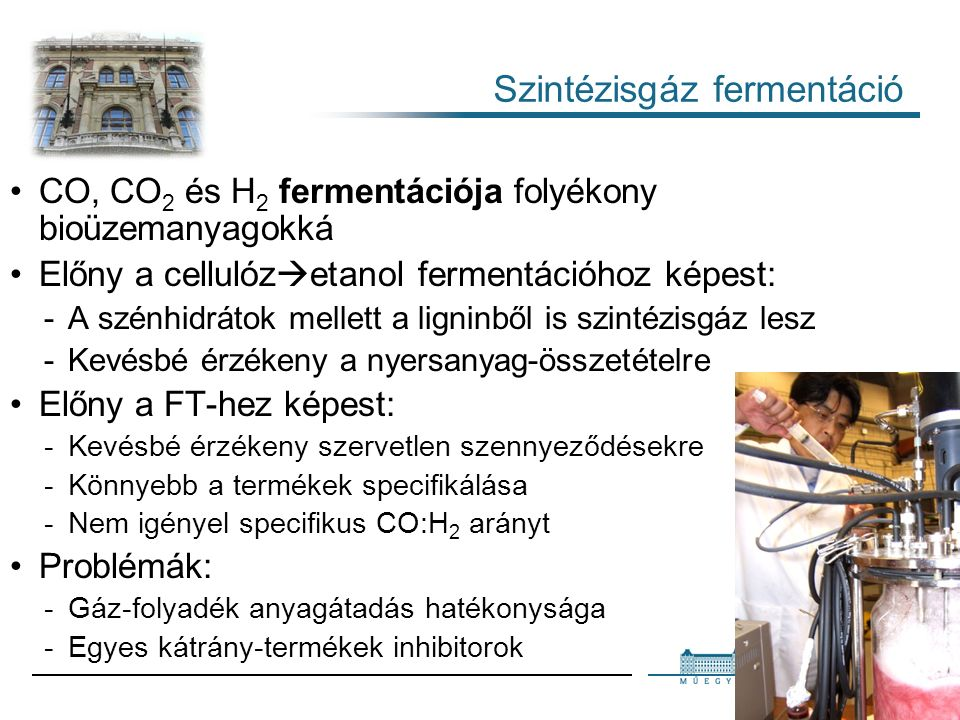 31 Szintézisgáz fermentáció CO, CO 2 és H 2 fermentációja folyékony bioüzemanyagokká Előny a cellulóz  etanol fermentációhoz képest: A szénhidrátok mellett a ligninből is szintézisgáz lesz Kevésbé érzékeny a nyersanyag-összetételre Előny a FT-hez képest: Kevésbé érzékeny szervetlen szennyeződésekre Könnyebb a termékek specifikálása Nem igényel specifikus CO:H 2 arányt Problémák: Gáz-folyadék anyagátadás hatékonysága Egyes kátrány-termékek inhibitorok