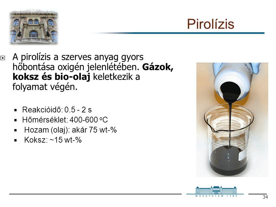 34 Pirolízis  A pirolízis a szerves anyag gyors hőbontása oxigén jelenlétében.