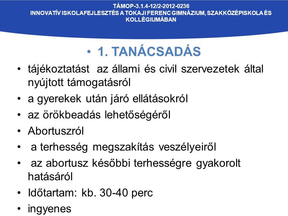 TÁMOP-3.1.4-12/2-2012-0236 INNOVATÍV ISKOLAFEJLESZTÉS A TOKAJI FERENC GIMNÁZIUM, SZAKKÖZÉPISKOLA ÉS KOLLÉGIUMÁBAN 1. TANÁCSADÁS tájékoztatást az állam