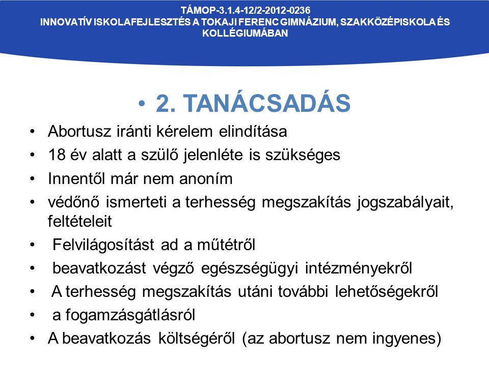 TÁMOP-3.1.4-12/2-2012-0236 INNOVATÍV ISKOLAFEJLESZTÉS A TOKAJI FERENC GIMNÁZIUM, SZAKKÖZÉPISKOLA ÉS KOLLÉGIUMÁBAN 2. TANÁCSADÁS Abortusz iránti kérele