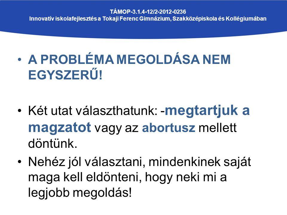 A PROBLÉMA MEGOLDÁSA NEM EGYSZERŰ.