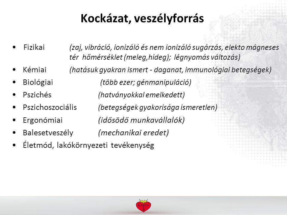 Kockázat, veszélyforrás Fizikai (zaj, vibráció, ionizáló és nem ionizáló sugárzás, elekto mágneses tér hőmérséklet (meleg,hideg); légnyomás változás) Kémiai (hatásuk gyakran ismert - daganat, immunológiai betegségek) Biológiai (több ezer; génmanipuláció) Pszichés (hatványokkal emelkedett) Pszichoszociális (betegségek gyakorisága ismeretlen) Ergonómiai (idősödő munkavállalók) Balesetveszély(mechanikai eredet) Életmód, lakókörnyezeti tevékenység