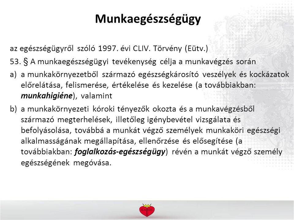 Munkaegészségügy az egészségügyről szóló 1997. évi CLIV.