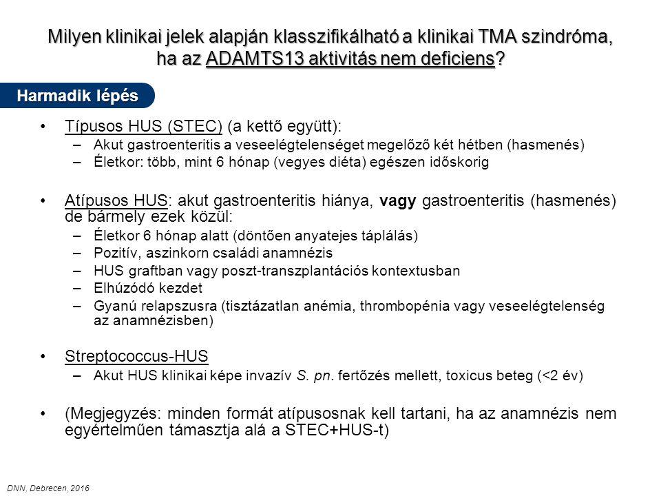 Milyen klinikai jelek alapján klasszifikálható a klinikai TMA szindróma, ha az ADAMTS13 aktivitás nem deficiens.