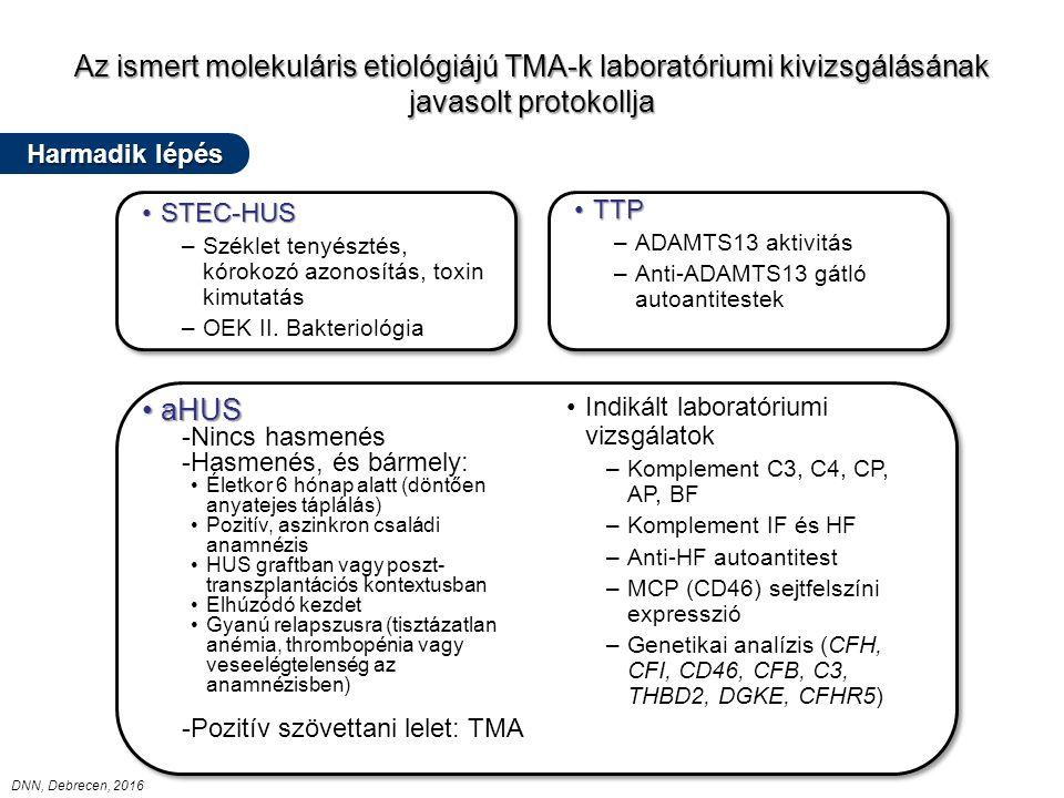Az ismert molekuláris etiológiájú TMA-k laboratóriumi kivizsgálásának javasolt protokollja TTPTTP –ADAMTS13 aktivitás –Anti-ADAMTS13 gátló autoantitestek TTPTTP –ADAMTS13 aktivitás –Anti-ADAMTS13 gátló autoantitestek STEC-HUSSTEC-HUS –Széklet tenyésztés, kórokozó azonosítás, toxin kimutatás –OEK II.