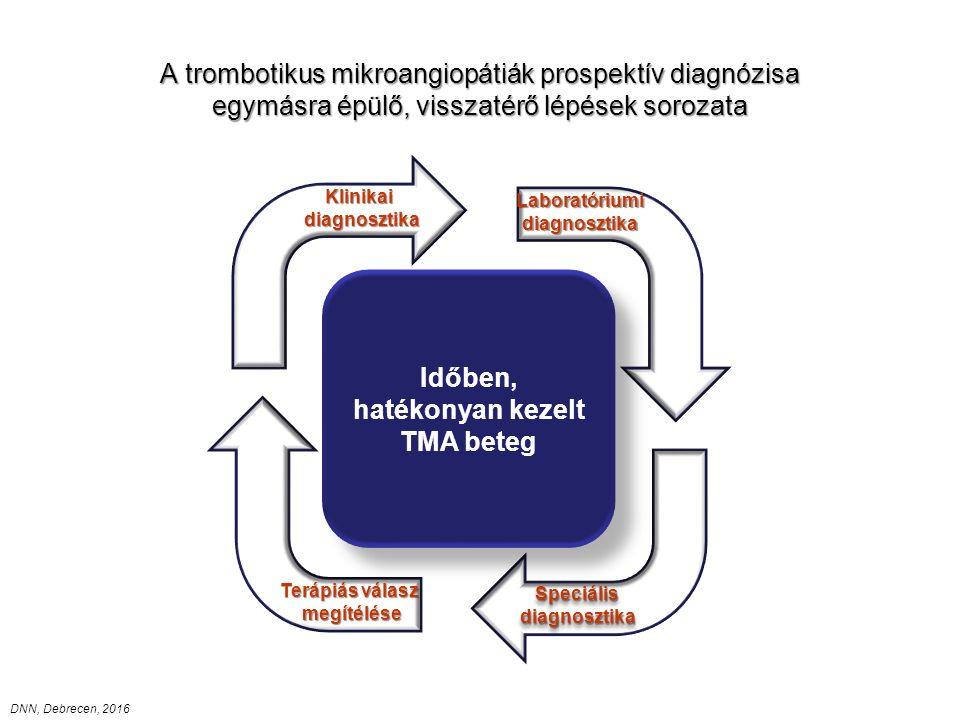 A trombotikus mikroangiopátiák prospektív diagnózisa egymásra épülő, visszatérő lépések sorozata Időben, hatékonyan kezelt TMA beteg Klinikaidiagnosztika Laboratóriumidiagnosztika Terápiás válasz megítélése SpeciálisdiagnosztikaSpeciálisdiagnosztika DNN, Debrecen, 2016