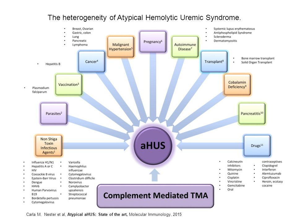 The heterogeneity of Atypical Hemolytic Uremic Syndrome. Carla M. Nester et al, Atypical aHUS: State of the art, Molecular Immunology, 2015