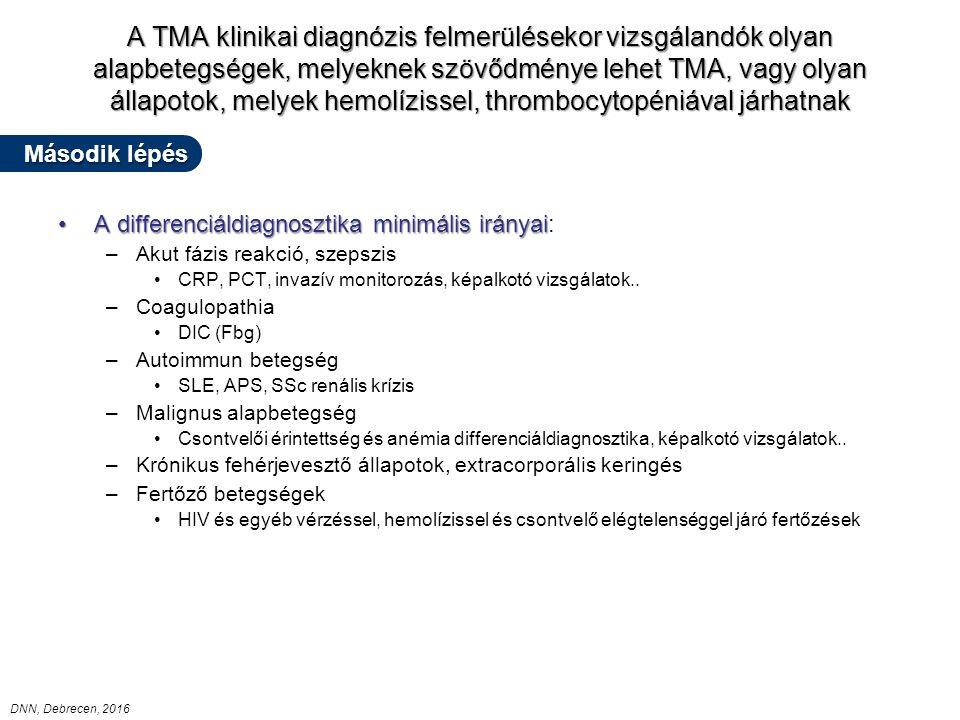 A TMA klinikai diagnózis felmerülésekor vizsgálandók olyan alapbetegségek, melyeknek szövődménye lehet TMA, vagy olyan állapotok, melyek hemolízissel, thrombocytopéniával járhatnak A differenciáldiagnosztika minimális irányaiA differenciáldiagnosztika minimális irányai: –Akut fázis reakció, szepszis CRP, PCT, invazív monitorozás, képalkotó vizsgálatok..