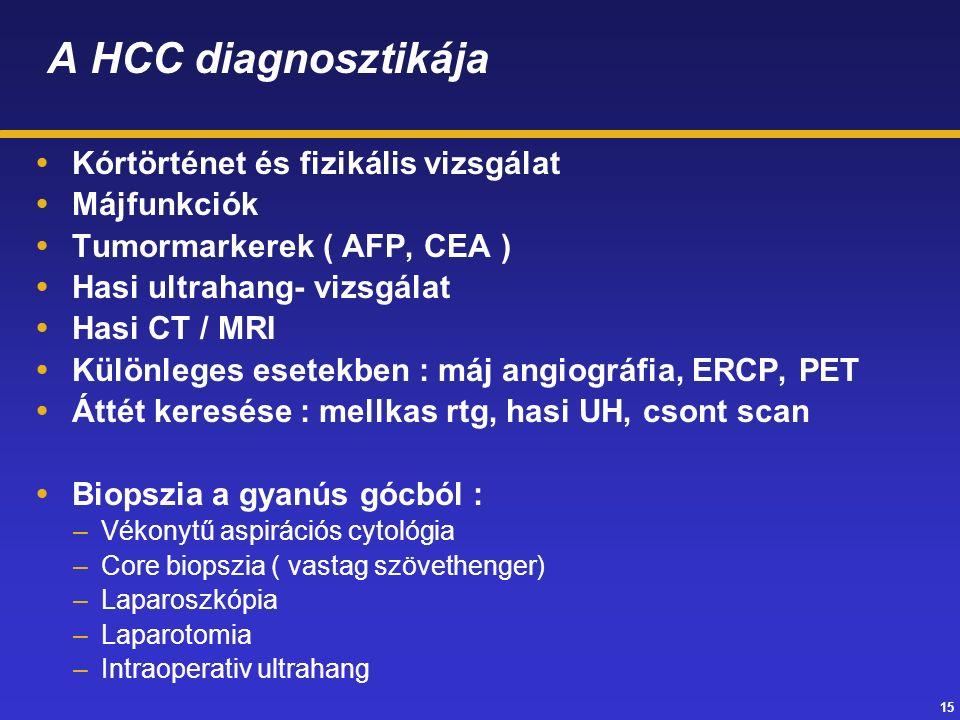 15 A HCC diagnosztikája  Kórtörténet és fizikális vizsgálat  Májfunkciók  Tumormarkerek ( AFP, CEA )  Hasi ultrahang- vizsgálat  Hasi CT / MRI  Különleges esetekben : máj angiográfia, ERCP, PET  Áttét keresése : mellkas rtg, hasi UH, csont scan  Biopszia a gyanús gócból : –Vékonytű aspirációs cytológia –Core biopszia ( vastag szövethenger) –Laparoszkópia –Laparotomia –Intraoperativ ultrahang