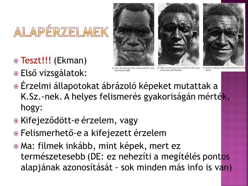  Teszt!!. (Ekman)  Első vizsgálatok:  Érzelmi állapotokat ábrázoló képeket mutattak a K.Sz.-nek.