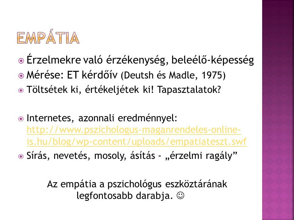  Érzelmekre való érzékenység, beleélő-képesség  Mérése: ET kérdőív (Deutsh és Madle, 1975)  Töltsétek ki, értékeljétek ki.