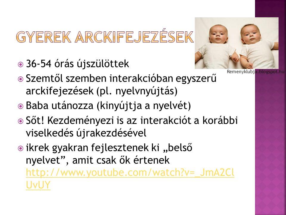  36-54 órás újszülöttek  Szemtől szemben interakcióban egyszerű arckifejezések (pl.