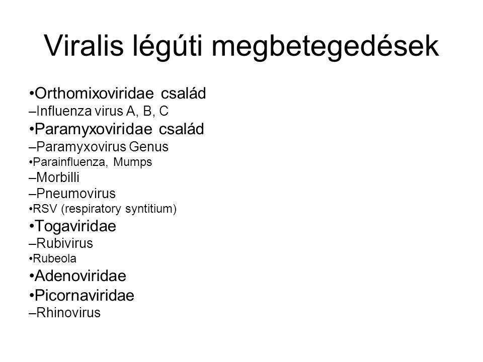 Viralis légúti megbetegedések Orthomixoviridae család – Influenza virus A, B, C Paramyxoviridae család – Paramyxovirus Genus Parainfluenza, Mumps – Mo