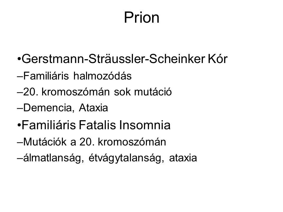 Prion Gerstmann-Sträussler-Scheinker Kór – Familiáris halmozódás – 20. kromoszómán sok mutáció – Demencia, Ataxia Familiáris Fatalis Insomnia – Mutáci
