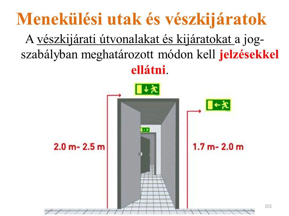Menekülési utak és vészkijáratok A vészkijárati útvonalakat és kijáratokat a jog- szabályban meghatározott módon kell jelzésekkel ellátni.