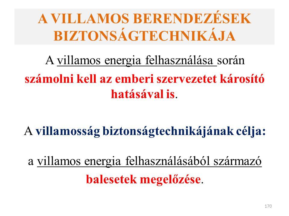 A VILLAMOS BERENDEZÉSEK BIZTONSÁGTECHNIKÁJA A villamos energia felhasználása során számolni kell az emberi szervezetet károsító hatásával is.