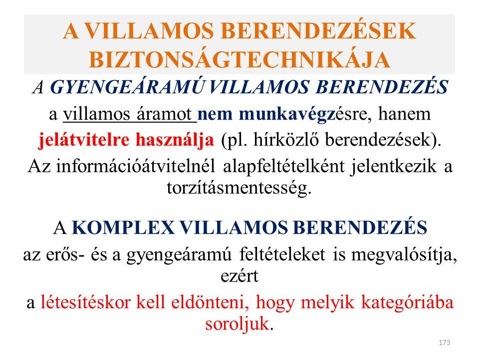 A VILLAMOS BERENDEZÉSEK BIZTONSÁGTECHNIKÁJA A GYENGEÁRAMÚ VILLAMOS BERENDEZÉS a villamos áramot nem munkavégzésre, hanem jelátvitelre használja (pl.