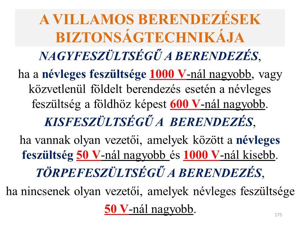 A VILLAMOS BERENDEZÉSEK BIZTONSÁGTECHNIKÁJA NAGYFESZÜLTSÉGŰ A BERENDEZÉS, ha a névleges feszültsége 1000 V-nál nagyobb, vagy közvetlenül földelt berendezés esetén a névleges feszültség a földhöz képest 600 V-nál nagyobb.