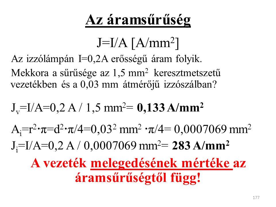 Az áramsűrűség J=I/A [A/mm 2 ] Az izzólámpán I=0,2A erősségű áram folyik.