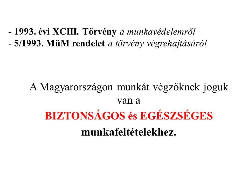 - 1993. évi XCIII. Törvény a munkavédelemről - 5/1993.