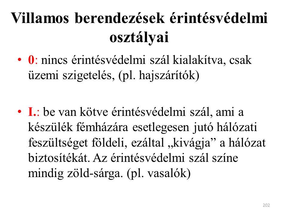Villamos berendezések érintésvédelmi osztályai 0: nincs érintésvédelmi szál kialakítva, csak üzemi szigetelés, (pl.