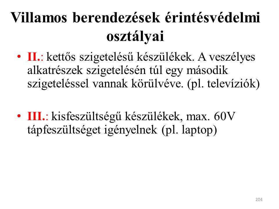 Villamos berendezések érintésvédelmi osztályai II.: kettős szigetelésű készülékek.
