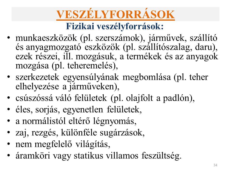 VESZÉLYFORRÁSOK Fizikai veszélyforrások: munkaeszközök (pl.