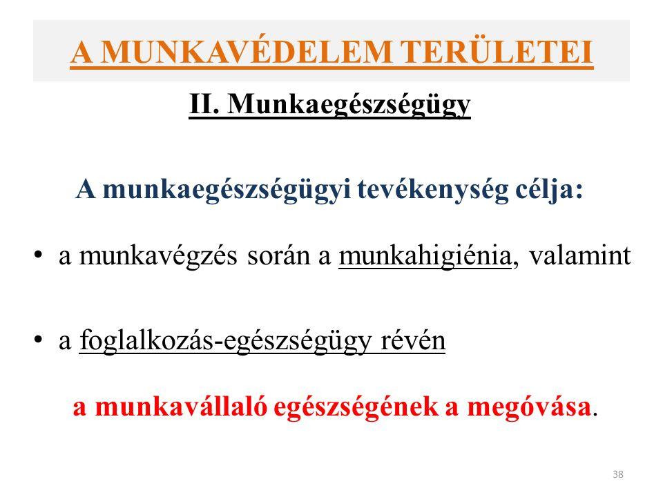 A MUNKAVÉDELEM TERÜLETEI II.