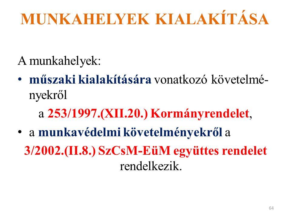 MUNKAHELYEK KIALAKÍTÁSA A munkahelyek: műszaki kialakítására vonatkozó követelmé- nyekről a 253/1997.(XII.20.) Kormányrendelet, a munkavédelmi követelményekről a 3/2002.(II.8.) SzCsM-EüM együttes rendelet rendelkezik.