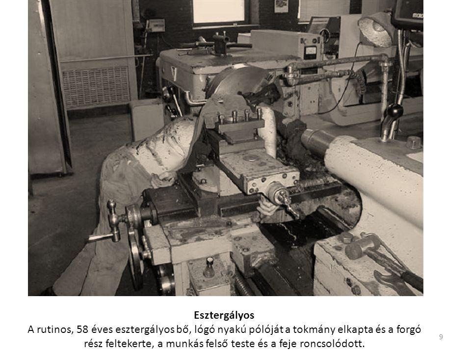 Esztergályos A rutinos, 58 éves esztergályos bő, lógó nyakú pólóját a tokmány elkapta és a forgó rész feltekerte, a munkás felső teste és a feje roncsolódott.