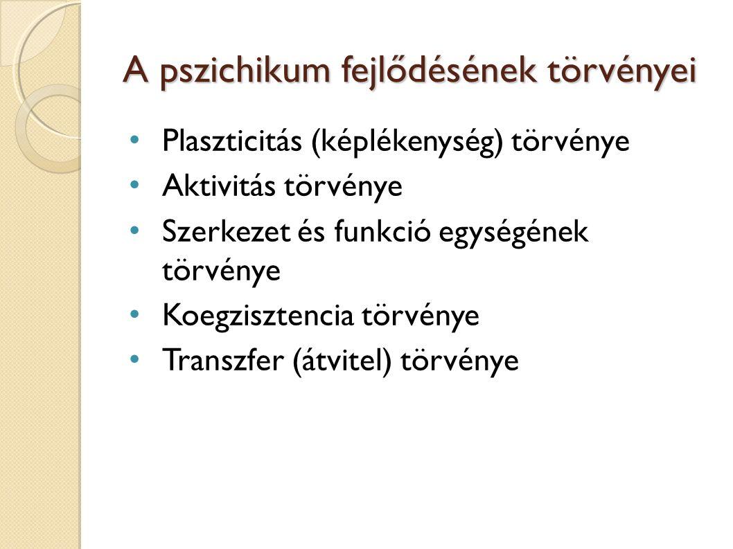A pszichikum fejlődésének törvényei Plaszticitás (képlékenység) törvénye Aktivitás törvénye Szerkezet és funkció egységének törvénye Koegzisztencia törvénye Transzfer (átvitel) törvénye