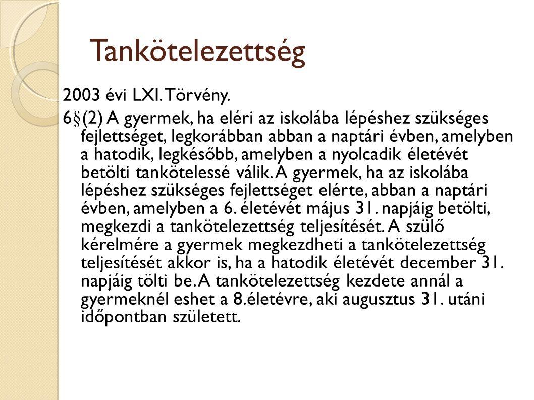 Tankötelezettség 2003 évi LXI. Törvény.