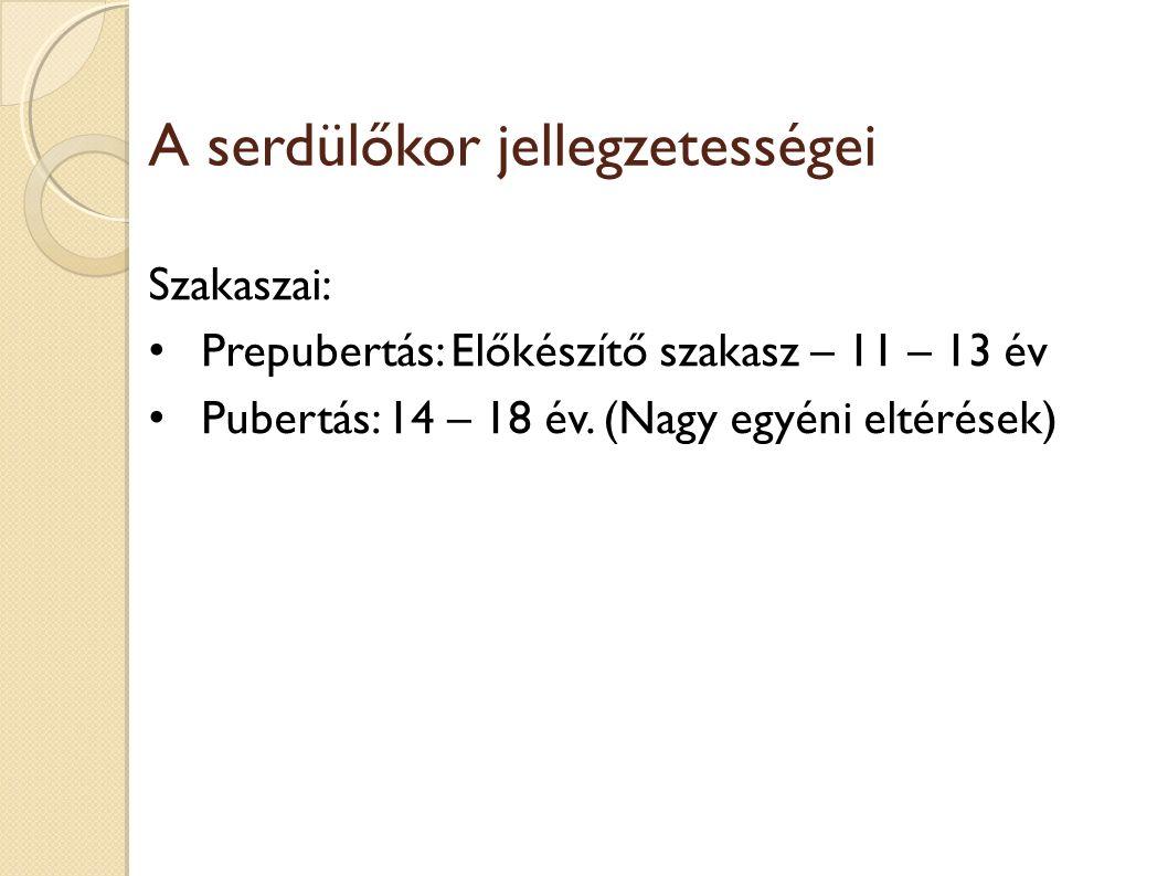 A serdülőkor jellegzetességei Szakaszai: Prepubertás: Előkészítő szakasz – 11 – 13 év Pubertás: 14 – 18 év.
