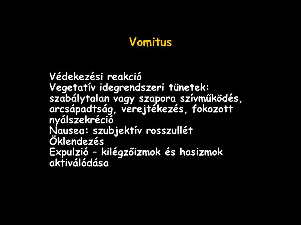Vomitus Védekezési reakció Vegetatív idegrendszeri tünetek: szabálytalan vagy szapora szívműködés, arcsápadtság, verejtékezés, fokozott nyálszekréció Nausea: szubjektív rosszullét Öklendezés Expulzió – kilégzőizmok és hasizmok aktiválódása