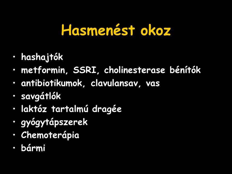 Hasmenést okoz hashajtók metformin, SSRI, cholinesterase bénítók antibiotikumok, clavulansav, vas savgátlók laktóz tartalmú dragée gyógytápszerek Chemoterápia bármi