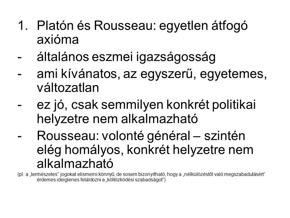1.Platón és Rousseau: egyetlen átfogó axióma -általános eszmei igazságosság -ami kívánatos, az egyszerű, egyetemes, változatlan -ez jó, csak semmilyen konkrét politikai helyzetre nem alkalmazható -Rousseau: volonté général – szintén elég homályos, konkrét helyzetre nem alkalmazható (pl.