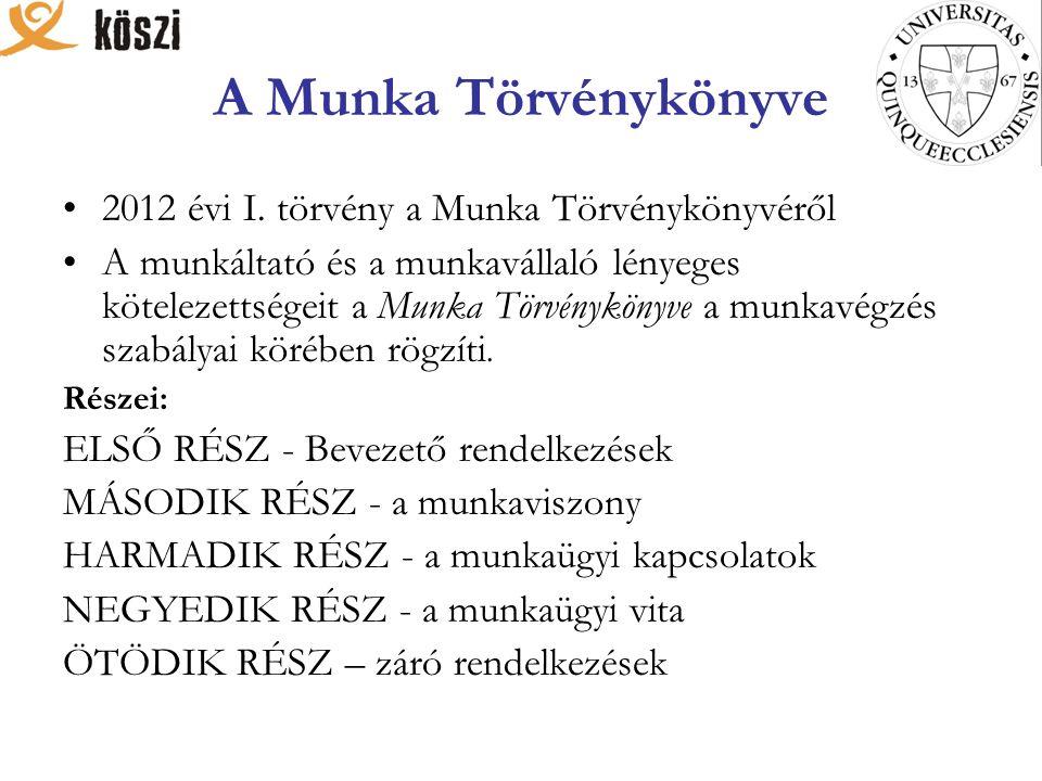 A Munka Törvénykönyve 2012 évi I.