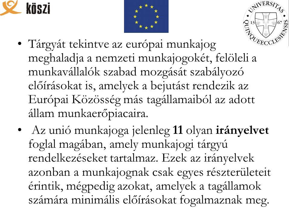 Tárgyát tekintve az európai munkajog meghaladja a nemzeti munkajogokét, felöleli a munkavállalók szabad mozgását szabályozó előírásokat is, amelyek a bejutást rendezik az Európai Közösség más tagállamaiból az adott állam munkaerőpiacaira.