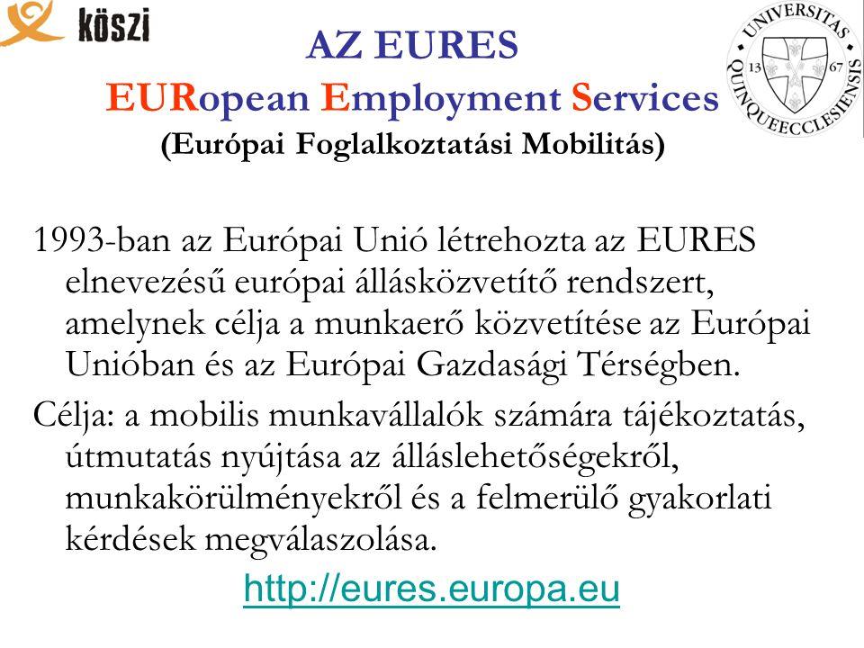 AZ EURES EURopean Employment Services (Európai Foglalkoztatási Mobilitás) 1993-ban az Európai Unió létrehozta az EURES elnevezésű európai állásközvetítő rendszert, amelynek célja a munkaerő közvetítése az Európai Unióban és az Európai Gazdasági Térségben.