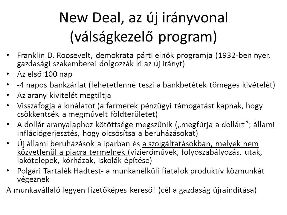 New Deal, az új irányvonal (válságkezelő program) Franklin D.