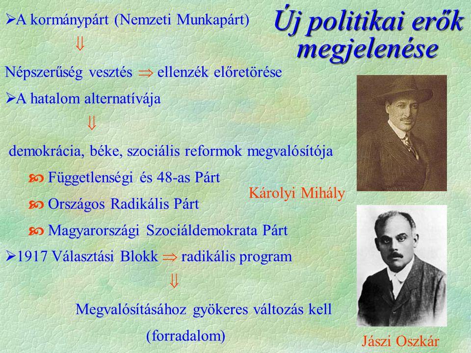 Új politikai erők megjelenése  A kormánypárt (Nemzeti Munkapárt)  Népszerűség vesztés  ellenzék előretörése  A hatalom alternatívája  demokrácia, béke, szociális reformok megvalósítója  Függetlenségi és 48-as Párt  Országos Radikális Párt  Magyarországi Szociáldemokrata Párt  1917 Választási Blokk  radikális program  Megvalósításához gyökeres változás kell (forradalom) Károlyi Mihály Jászi Oszkár