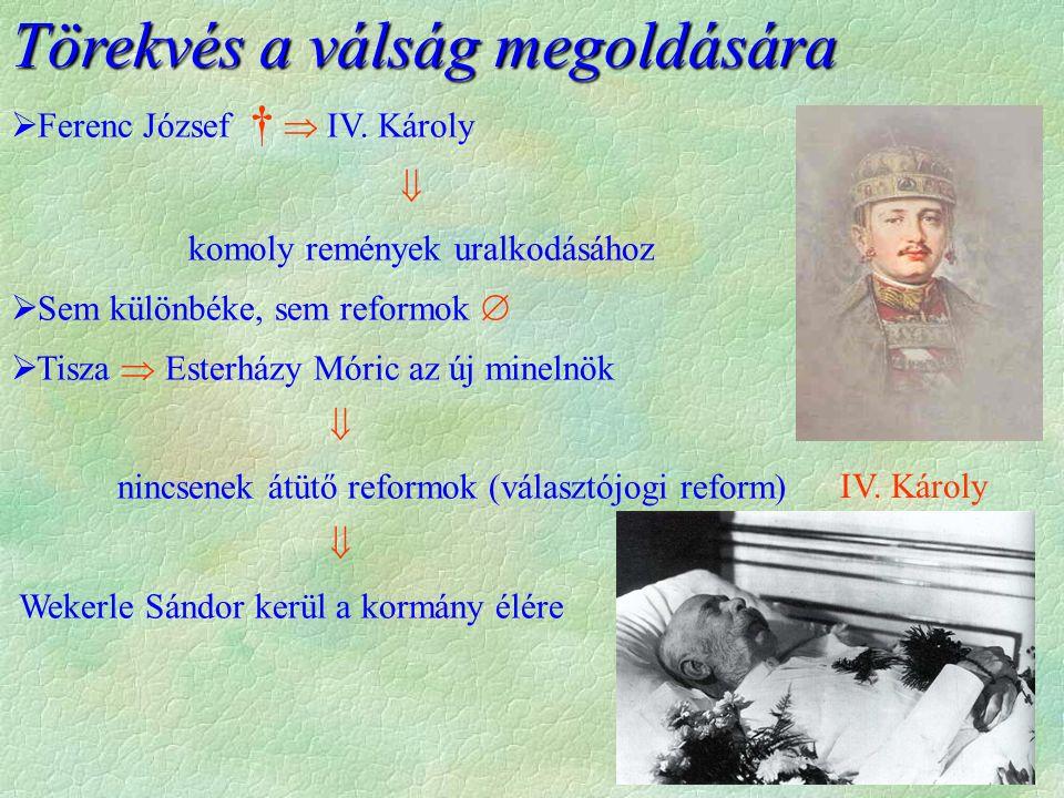 Törekvés a válság megoldására  Ferenc József †  IV. Károly  komoly remények uralkodásához  Sem különbéke, sem reformok   Tisza  Esterházy Móric